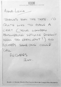 Handwritten postcard from Ivo Watts-Russell of 4AD to Anna Livia